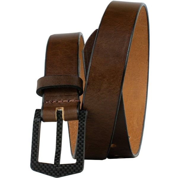 The Stealth Brown Belt by Nickel Smart - carbonfiberbelts.com, Brown belt made with genuine leather stitched with a black carbon fiber pin buckle, no metal, lightweight, TSA friendly