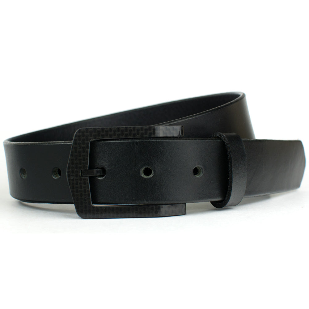 The Stealth Black Belt by Nickel Smart - carbonfiberbelts.com, full grain leather, made in USA