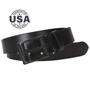 The Classified Black Belt by Nickel Smart - carbonfiberbelts.com, Black belt hand made in the USA with genuine leather stitched with a black carbon fiber pin buckle, no metal, no nickel