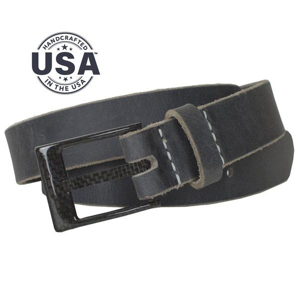 100% carbon fiber buckle is stitched to handcrafted distressed gray leather strap, no beep belt with great casual looks!, made in USA