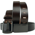 Zero Metal Belt Duo by Nickel Smart - carbonfiberbelts.com, Black and Brown belt set made from genuine leather stitched with black carbon fiber buckles, no metal, lightweight, TSA friendly