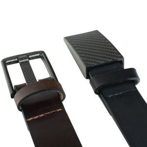 Zero Metal Belt Duo by Nickel Smart - carbonfiberbelts.com, black and brown belts stitched with black carbon fiber buckles, pin buckle, hooked buckle, no metal, no nickel, hypoallergenic