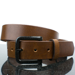 Handcrafted brown leather belt has no metal to set off detectors in security screenings
