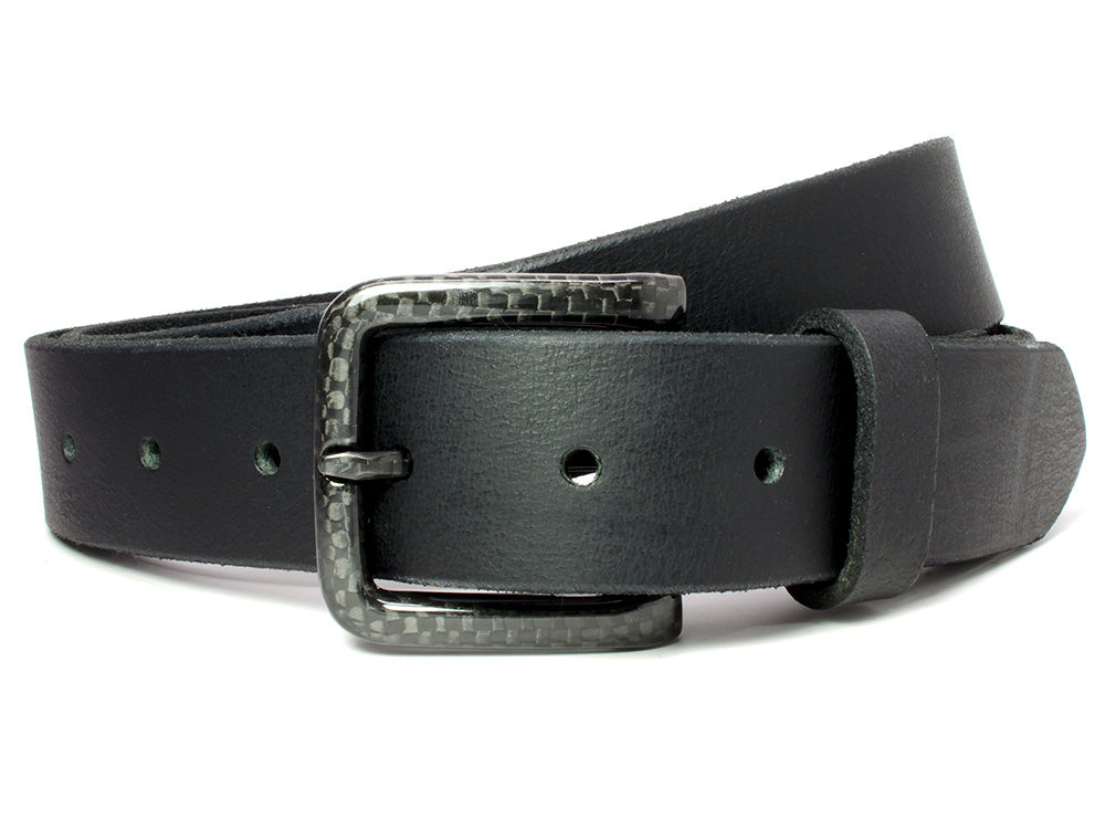 Black dress belt has carbon fiber buckle and zero metal! Made in USA
