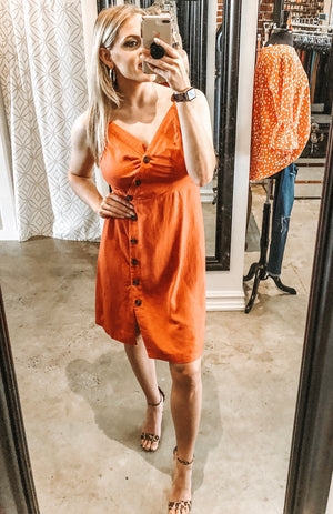 Rust Button Dress