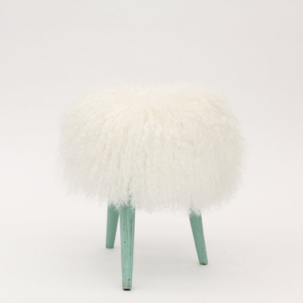 Mini Aqua Stool with Mongolian Fur