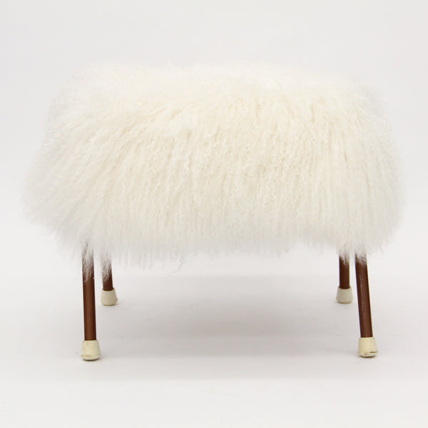 Mid-Century Metal Stool with Mongolian Fur
