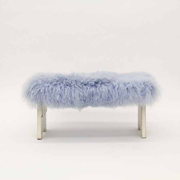 Blue Mongolian Fur Bench