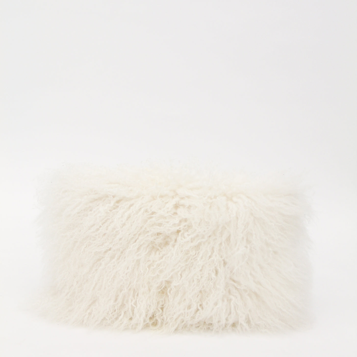 White Mongolian Fur Lumbar Pillow