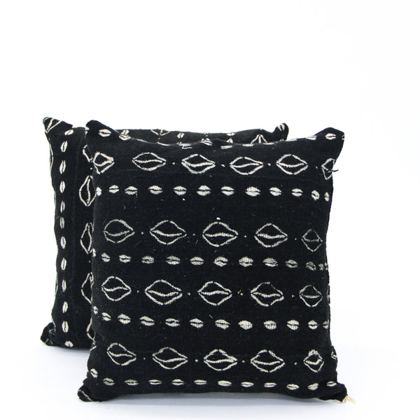 Black Vintage Mud Cloth Pillow