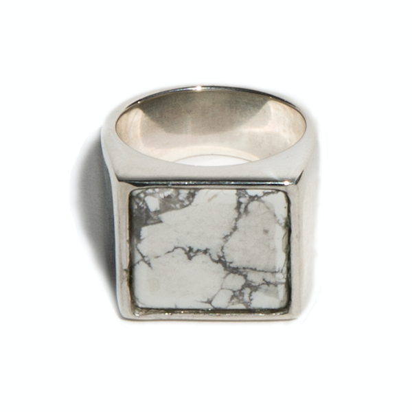 White Howlite Samuel Ring