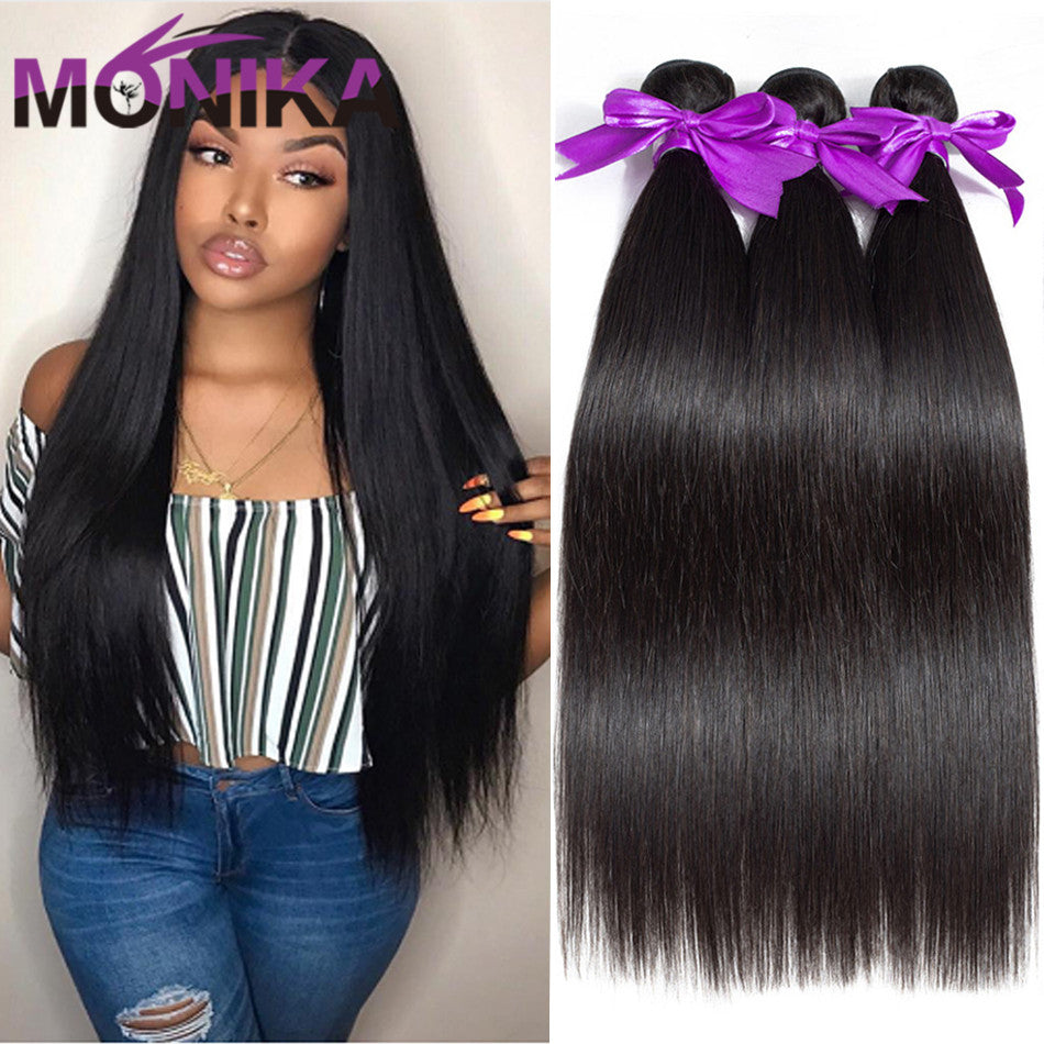 Monika Hair Cambodian Straight Weave Bundles Natural Color Human Hair Extensions