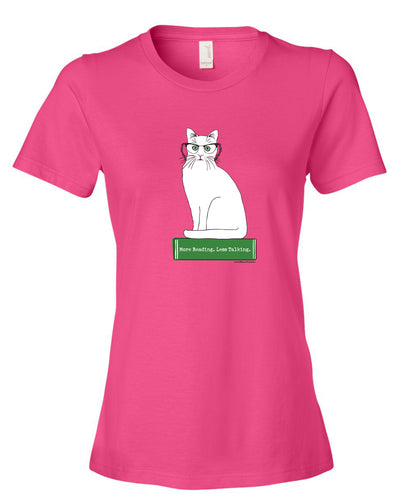 More Reading, Less Talking Tee for Cat Lovers