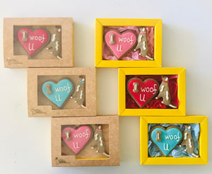 Golden Barkery Valentine's Day Dog Treats - I woof U Homemade Dog Biscuits
