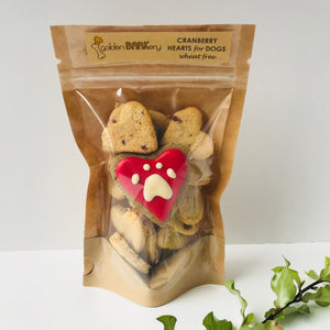 Golden Barkery Dog Treats - Cranberry Heart Homemade Dog Biscuits