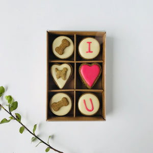 Valentine's Day Dog Treats - I HEART U Dog Biscuits