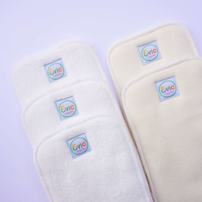 Reusable Nappy Inserts - Hemp and Bamboo Terry (Mixed Pack of 5)