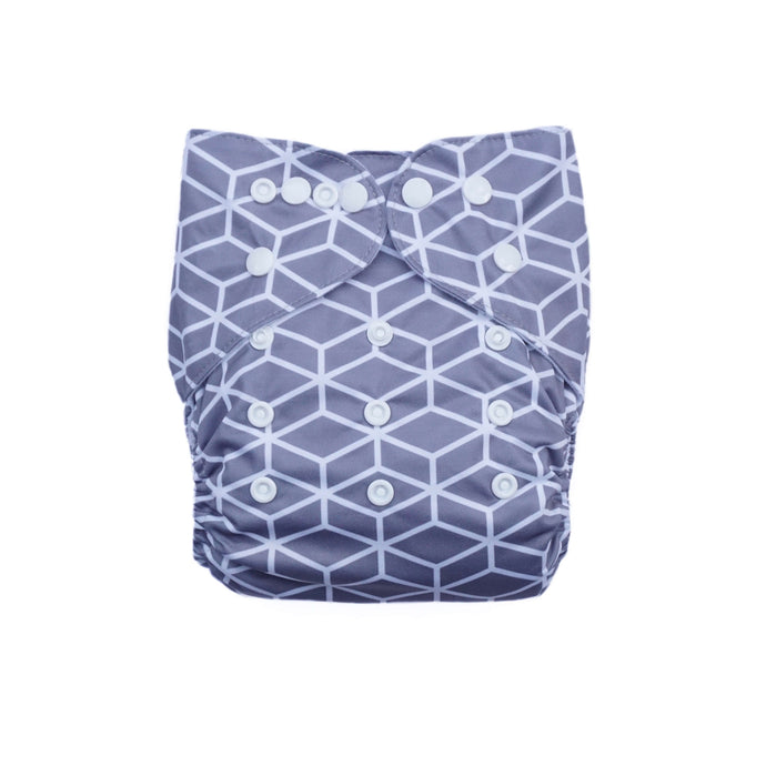 Evia Nappies Modern Cloth Nappy I Reusable Nappy I Geometric Grey