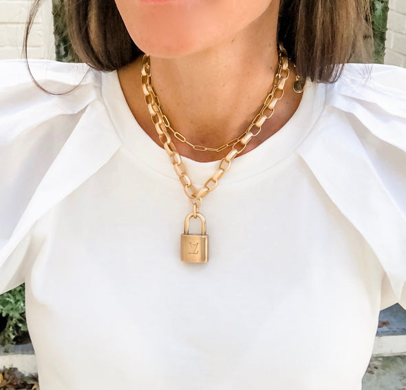 Repurposed Lock Pad Necklace - Rectangle Chain