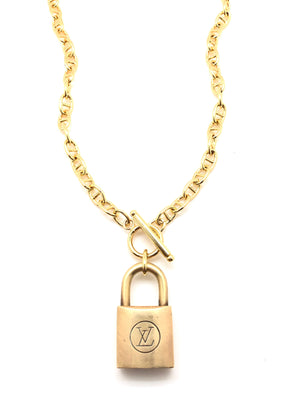 Repurposed Lock Pad Necklace - Gold Filled Anchor Chain