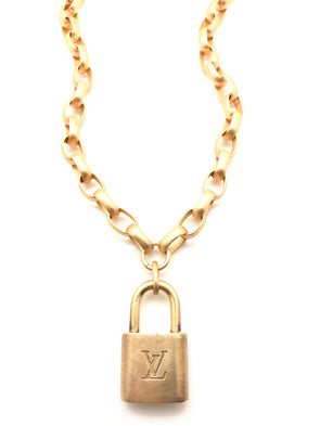 Designer Lock Pad Necklace - Rectangle Chain