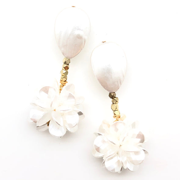 Cluster Mother of Pearl Earrings