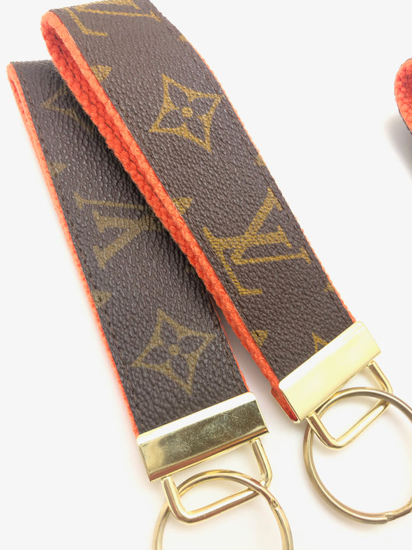 Repurposed LV Wristlet Keychain - Orange