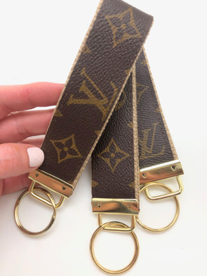 Repurposed LV Wristlet Keychain - Beige