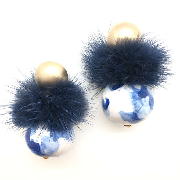 Porcelain Pom Earrings