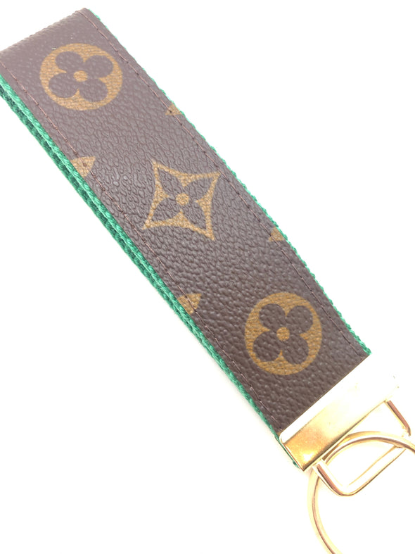 Repurposed Wristlet Keychain - Green