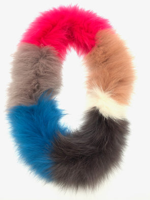Fox Fur Scarf - Color Block