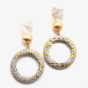 Harlow Pearl Earrings - Grey