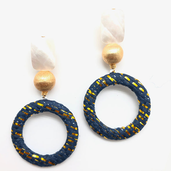 Harlow Pearl Earrings - Navy