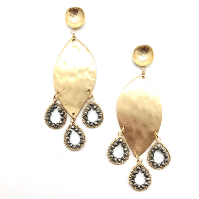 Gold Leaf Crystal Earrings - gunmetal