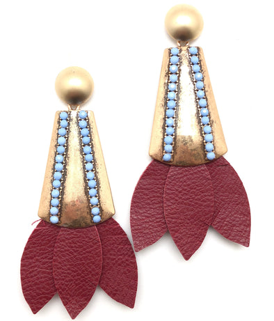 Tinsley Leather Earrings Crimson