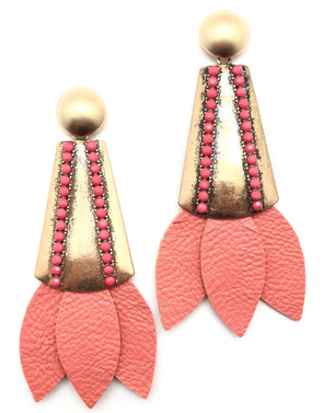 Tinsley Leather Earrings Rose