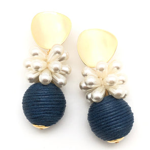 Blossom Earrings - Navy