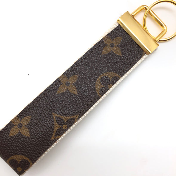 Repurposed LV Wristlet Keychain - Cream