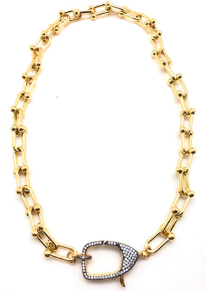 Pave CZ U Gold Filled Necklace