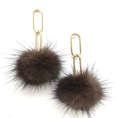 Gold Filled Mink Pom Earrings - 6 color choices