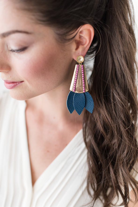 Tinsley Leather Earrings Navy