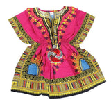 Children's African Elastic Waist Dashiki Shirt - Small Pink | M.A.G.O.S. African traditional children's clothes, African inspired kids clothes, dashiki for children, little girl African print dress
