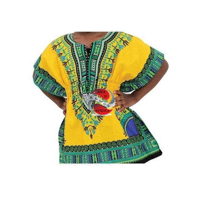 Children's African Elastic Waist Dashiki Shirt - Small Blue | M.A.G.O.S. African traditional children's clothes, African inspired kids clothes, dashiki for children, little girl African print dress