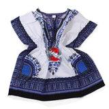 Children's African Elastic Waist Dashiki Shirt - Medium White with Blue | M.A.G.O.S. African traditional children's clothes, African inspired kids clothes, dashiki for children, little girl African print dress