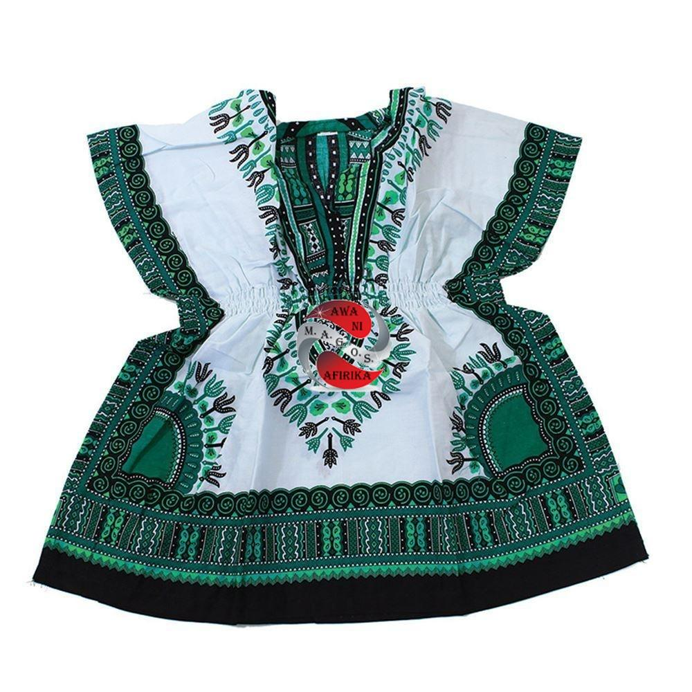 Children's African Elastic Waist Dashiki Shirt - Small Green on White | M.A.G.O.S. African traditional children's clothes, African inspired kids clothes, dashiki for children, little girl African print dress