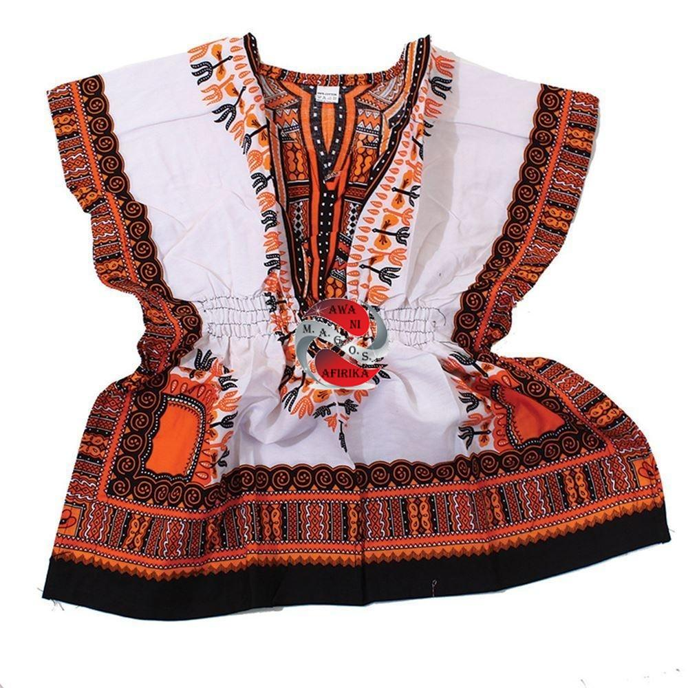 Children's African Elastic Waist Dashiki Shirt - Small White With Orange | M.A.G.O.S. African traditional children's clothes, African inspired kids clothes, dashiki for children, little girl African print dress