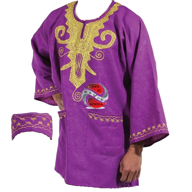 MEN 2PCS DASHIKI TOP SET - PURPLE