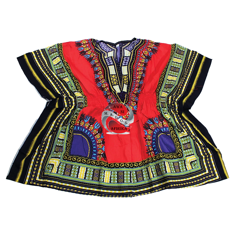 Women's Traditional Elastic Waistband Dashiki Top Dress-Red