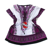 Children's African Elastic Waist Dashiki Shirt - Medium Purple on White | M.A.G.O.S. African traditional children's clothes, African inspired kids clothes, dashiki for children, little girl African print dress