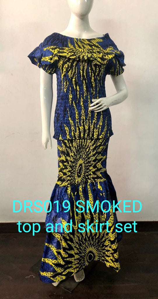 African Print Smocked Top and Skirt Dress